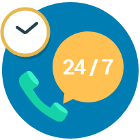 24x7x365 live support via chat, emails and calls